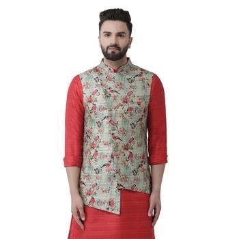 Green Printed Linen Nehru Jacket