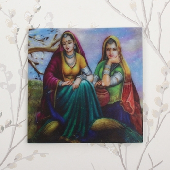 2 Village Women Painting On Marble Square Tile