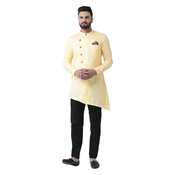 Beige Plain Pure Cotton Kurta Pajama