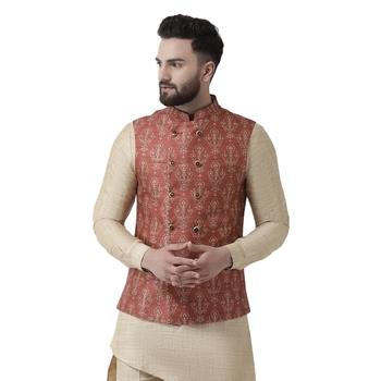 Maroon printed linen nehru-jacket