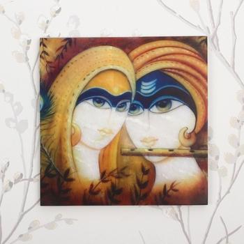 Radha Krishna Painting On Marble Square Tile