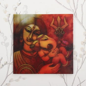 Lord Ganesha With Mother Painting On Marble Square Tile