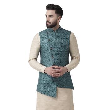 Blue Printed Linen Nehru Jacket