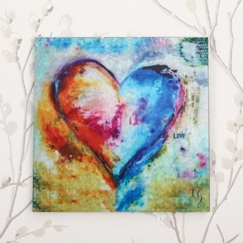 Colorful Heart Painting On Marble Square Tile
