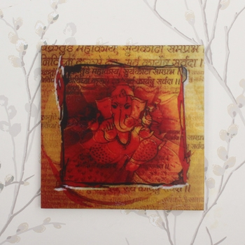 Lord Ganesha Painting On Marble Square Tile