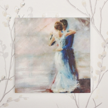 Dancing Love Couple Painting On Marble Square Tile