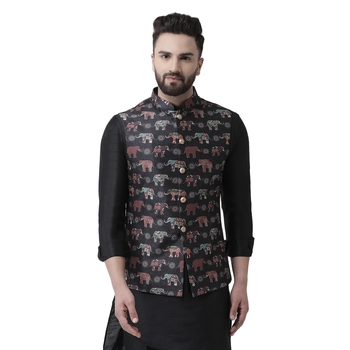 Black printed silk blend nehru-jacket