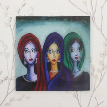 Abstract 3 Women Art Painting On Marble Square Tile