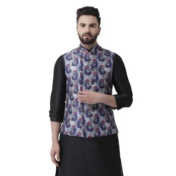 Grey Printed Silk Blend Nehru Jacket