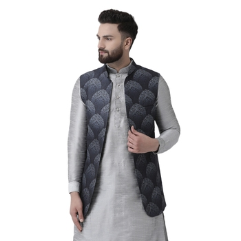 Grey printed silk blend nehru-jacket