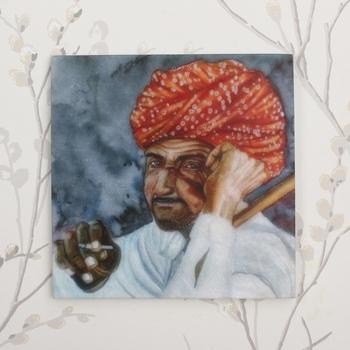 Rajasthani Man Wearing Turban Painting On Marble Square Tile