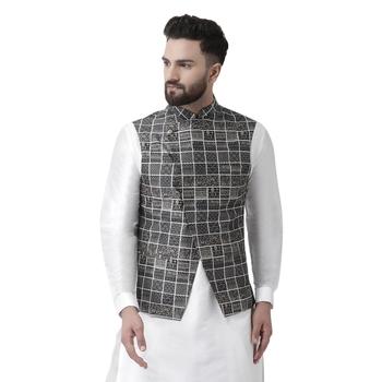 Black Printed Silk Blend Nehru Jacket