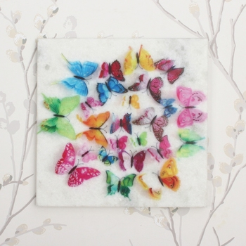 Colorful Butterflies Painting On Marble Square Tile