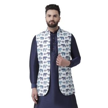 White Printed Silk Blend Nehru Jacket