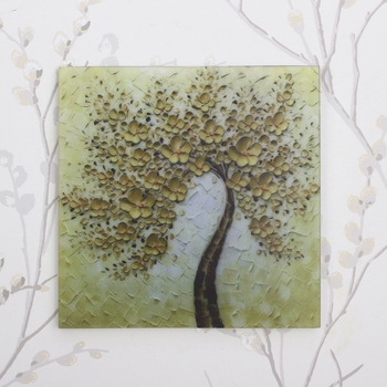 Colorful Tree Painting On Marble Square Tile