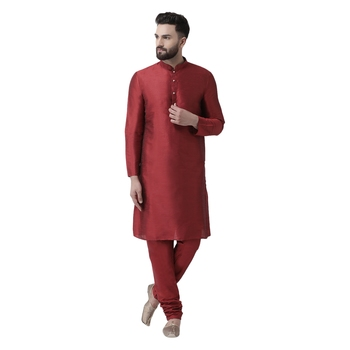 Maroon Plain Dupion Silk Kurta Pajama