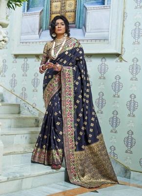 royal blue woven paithani silk saree with blouse