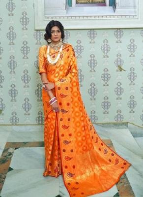 Orange woven paithani silk saree with blouse