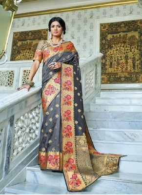 Grey woven paithani silk saree with blouse