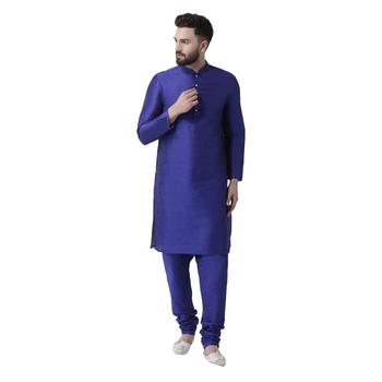 Blue plain dupion silk kurta-pajama