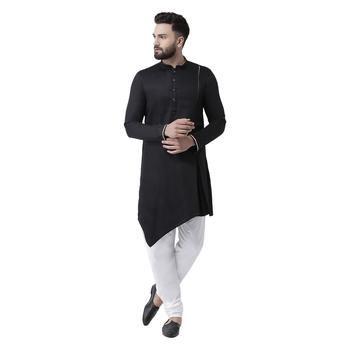 Black Plain Pure Cotton Kurta Pajama