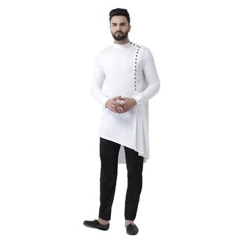 White Plain Pure Cotton Kurta Pajama
