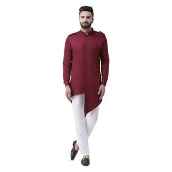 Maroon plain pure cotton kurta-pajama