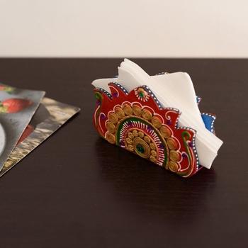 Decorative Papier-Mache Wooden Napkin Holder