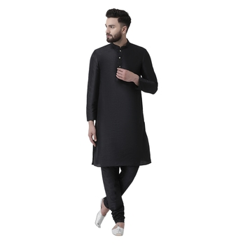 Black plain dupion silk men-kurtas