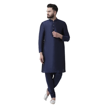 Blue Plain Dupion Silk Men Kurtas