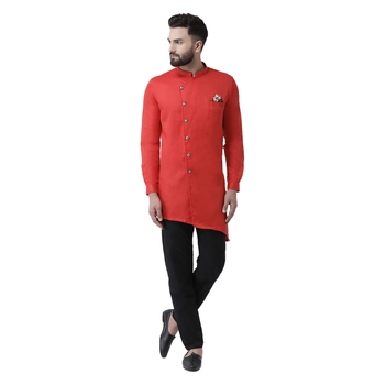 Red Plain Cotton Men Kurtas