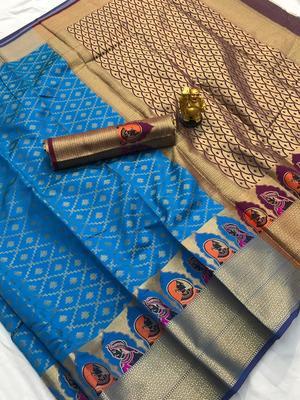 turquiose woven Kanjivarm Silk Saree With Attached Blouse