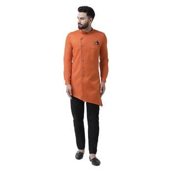Orange Plain Cotton Men Kurtas