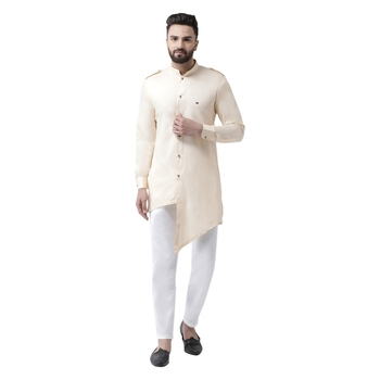 Beige Plain Cotton Men Kurtas