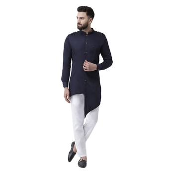 Blue Plain Cotton Men Kurtas