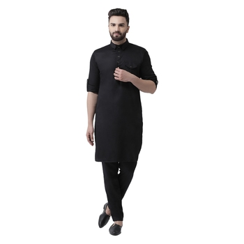 Black plain cotton men-kurtas