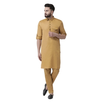 Mustard  plain cotton men-kurtas