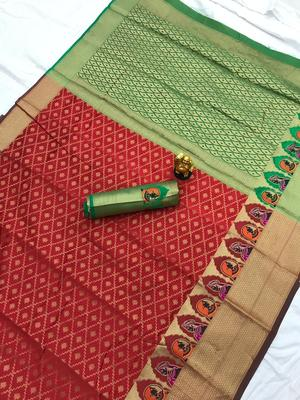 red woven Kanjivarm Silk Saree With Attached Blouse