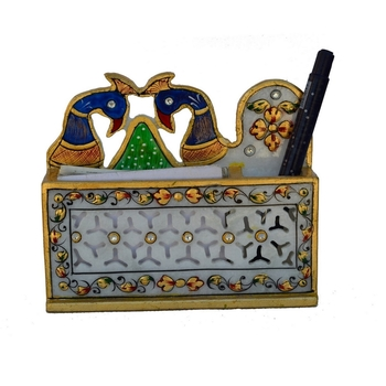 Peacock Designed Marble Pen Stand in Grill Design
