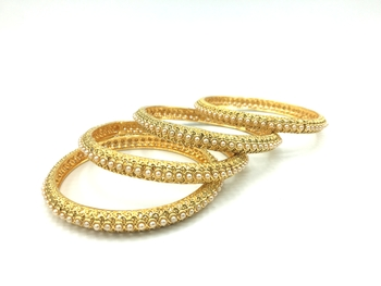 Gold Plated White Beaded Bangles Set Of 4