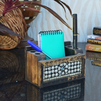 Wooden Jewelled Multipurpose Pen Stand