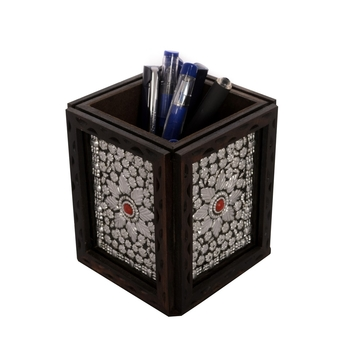 Decorative Jewelled Wooden Pen Stand