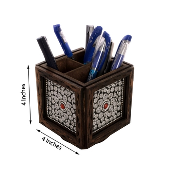 Jewelled Rotatory Wooden Pen Stand