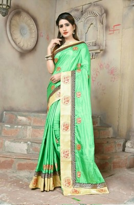 green embroidered art silk aree with blouse