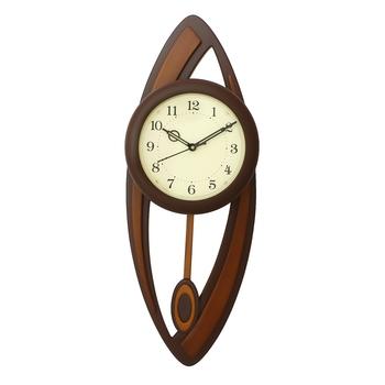 Dark Brown Oval Wooden Wall Clock