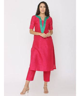 dark-pink plain silk kurta-sets