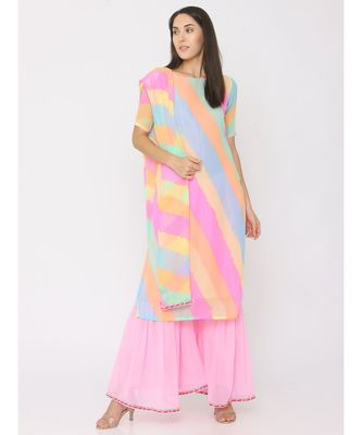 multicolor printed georgette kurta-sets