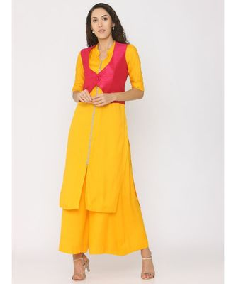 yellow plain rayon kurta-sets