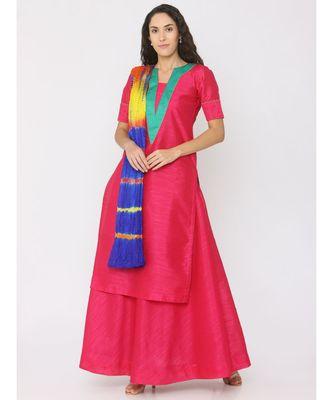 dark-pink plain silk kurta-sets