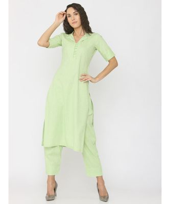 light-green plain linen kurta-sets